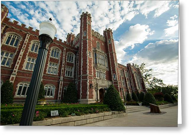 Oklahoma University Greeting Cards - Evans Hall in the Evening Greeting Card by Nathan Hillis