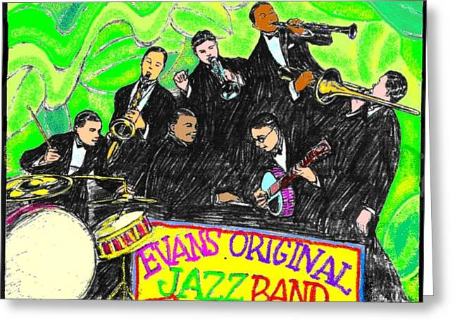 Improvisation Greeting Cards - Evans Original Jazz Band Greeting Card by Mel Thompson