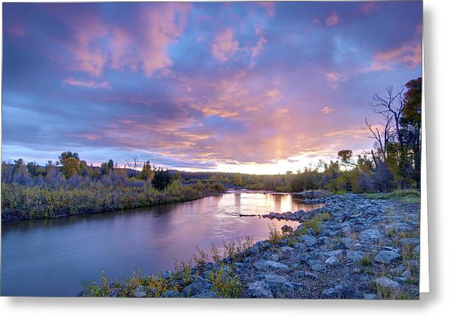 Water Flowing Greeting Cards - Evanston Sky Greeting Card by Peak Photography by Clint Easley