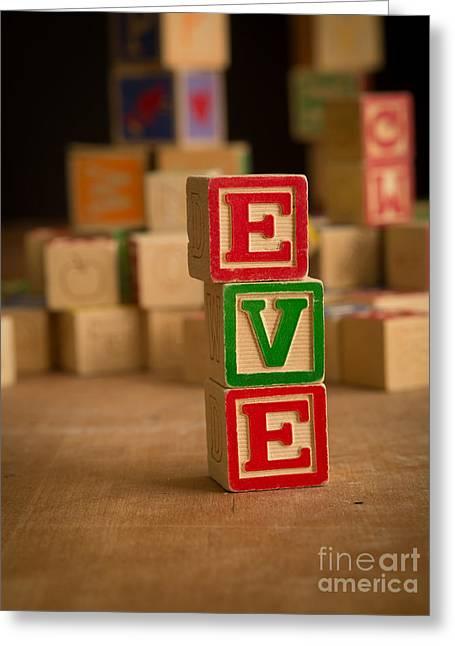 Eve Greeting Cards - EVE - Alphabet Blocks Greeting Card by Edward Fielding