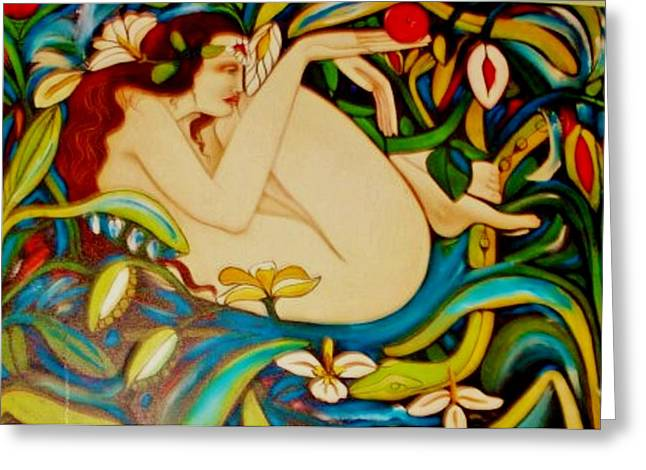 Gay Art Framed Giclee On Canvas Greeting Cards - Eve and the Apple   2- ART DECO Greeting Card by Gunter  Hortz