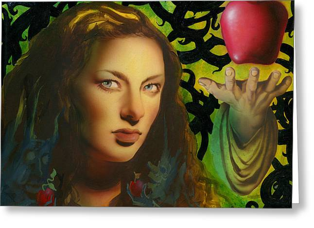 Thorn Apple Greeting Cards - Eve and the Apple Greeting Card by Luis  Navarro