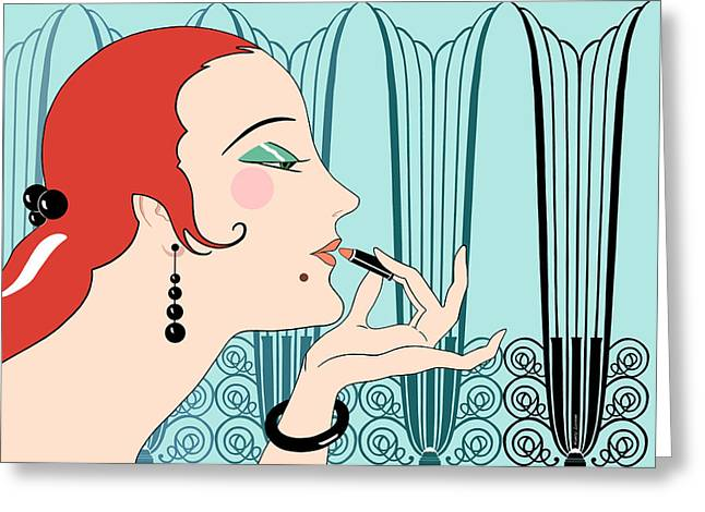 Antique Ironwork Digital Art Greeting Cards - EVE in Aqua and Teal Greeting Card by Nancy Lorene