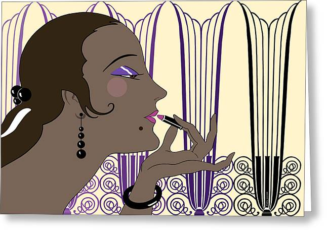 Antique Ironwork Digital Art Greeting Cards - EVE in Cream and Purple Greeting Card by Nancy Lorene