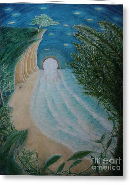 Ocean Images Drawings Greeting Cards - Eve Greeting Card by Jerry Bunnell