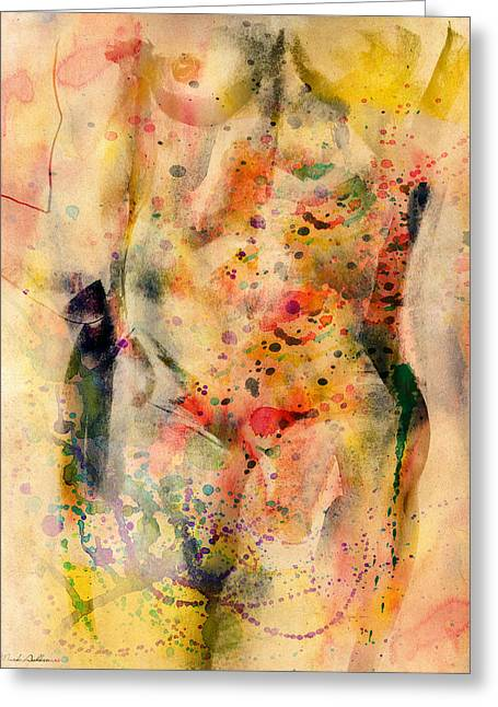 Young Nude Man Mixed Media Greeting Cards - Eve Greeting Card by Mark Ashkenazi