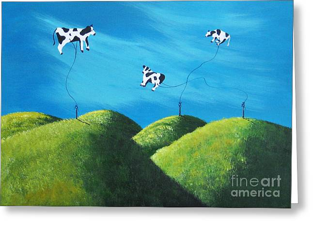 Even Cows Have Strange Dreams By Shawna Erback Art Greeting Card by Shawna Erback