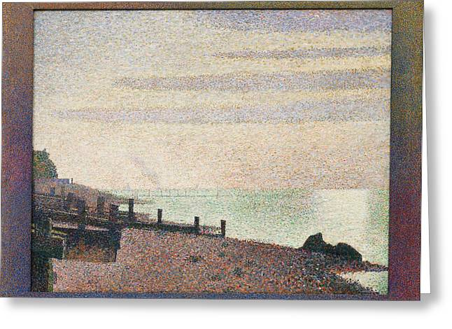 Seurat Greeting Cards - Evening - Honfleur Greeting Card by Georges Seurat