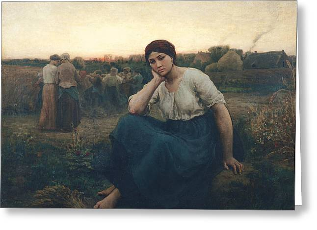 Exhaustion Greeting Cards - Evening, 1860 Oil On Canvas Greeting Card by Jules Breton