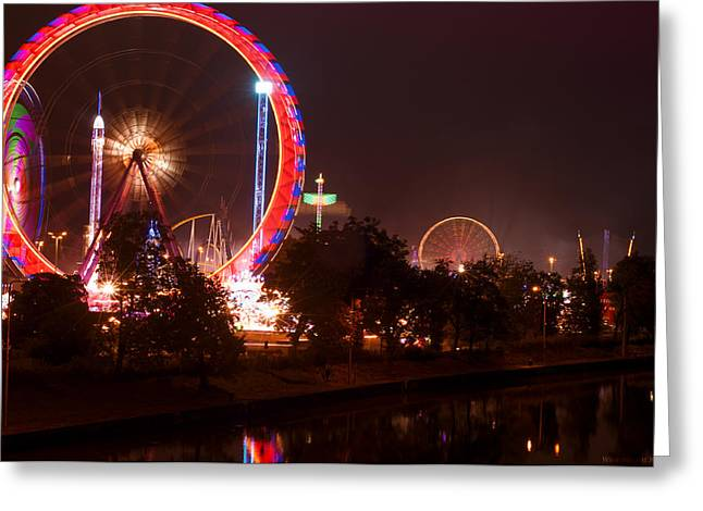 Deutschland Greeting Cards - Evening Amusement Park Greeting Card by Miguel Winterpacht