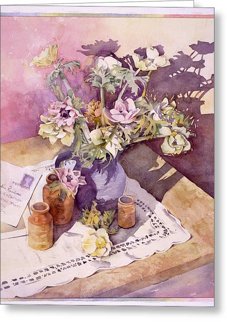 """indoor"" Still Life Greeting Cards - Evening Anemones Greeting Card by Julia Rowntree"