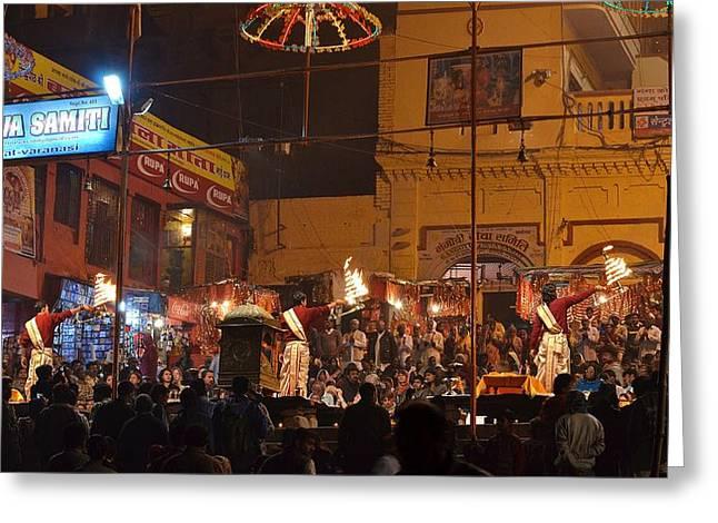 India Greeting Cards - Evening Arti 3  - Varanasi India Greeting Card by Kim Bemis