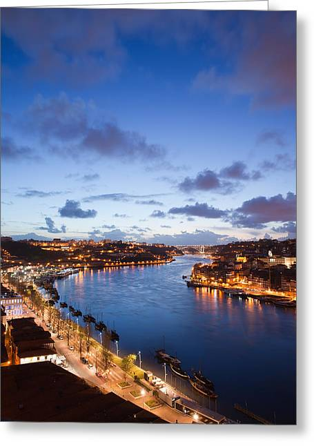 Peaceful Scene Greeting Cards - Evening at Douro River in Portugal Greeting Card by Artur Bogacki