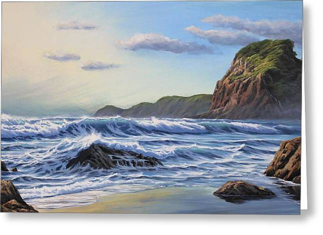 Aotearoa Greeting Cards - Evening at Piha Greeting Card by Samuel Earp