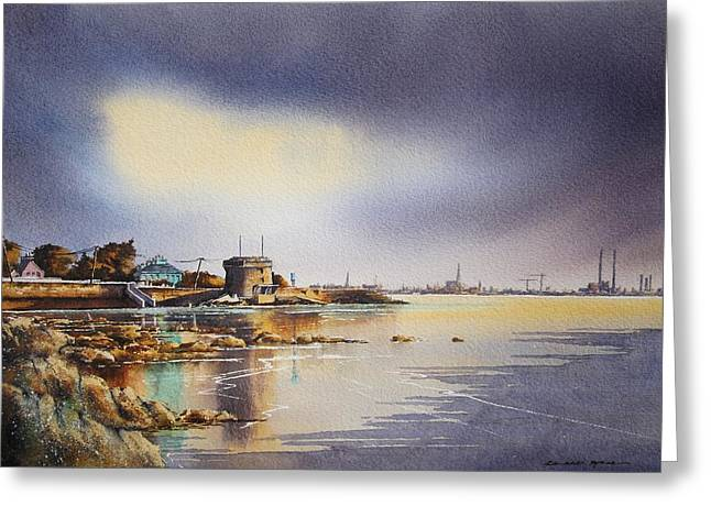 Southside Paintings Greeting Cards - Evening At Seapoint Greeting Card by Roland Byrne