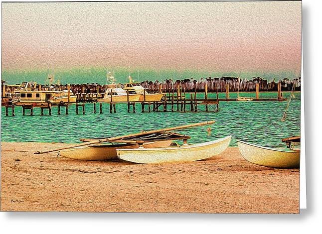 Coastal - Boats - Evening At The Beach Greeting Card by Barry Jones
