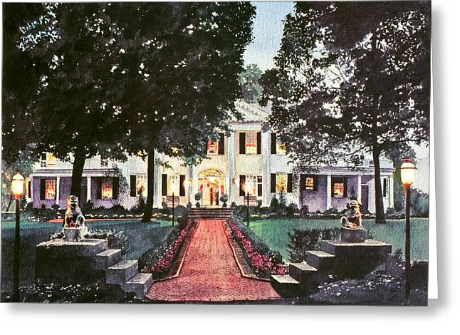Evening Lights Paintings Greeting Cards - Evening At The Governors Mansion Greeting Card by David Lloyd Glover