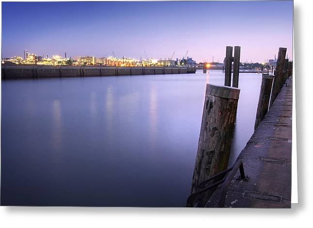 Evening At The Port Of Hamburg Greeting Card by Marc Huebner