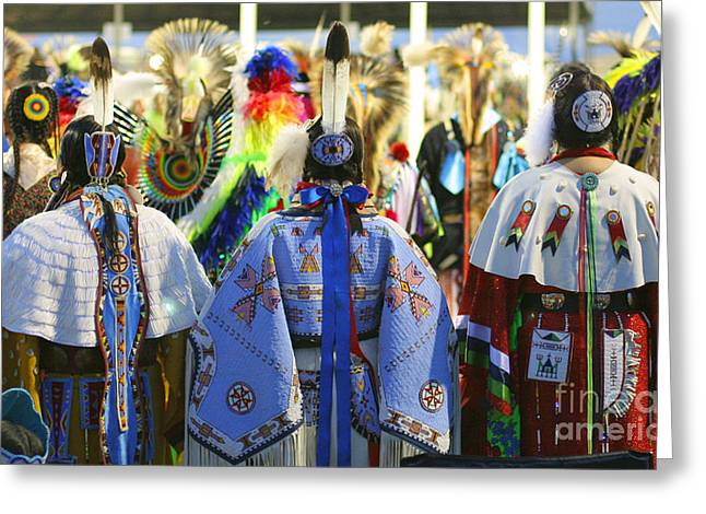 Powwow Greeting Cards - Evening at the Wacipi Greeting Card by Heidi Hermes
