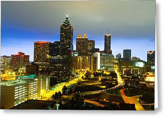 Ga Greeting Cards - Evening Atlanta Ga Greeting Card by Panoramic Images