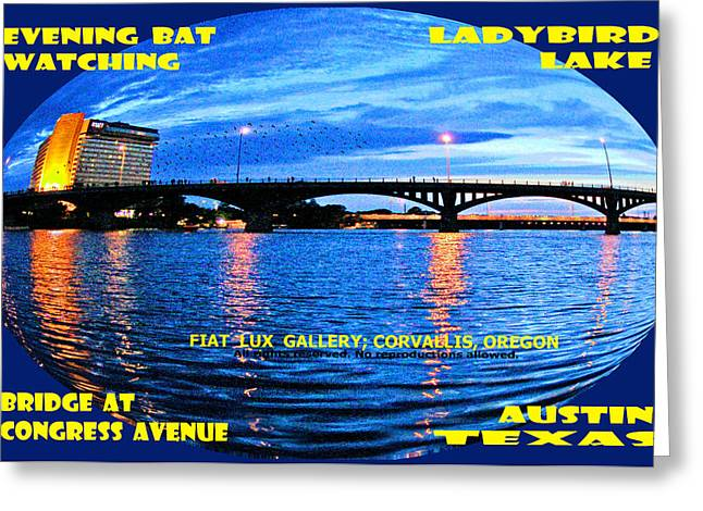 Austin. Bats Greeting Cards - Evening Bat Watching Austin Texas Greeting Card by Mike Moore FIAT LUX