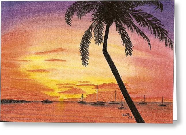 Tropical Pastels Greeting Cards - Evening Bay Greeting Card by Ray Ratzlaff