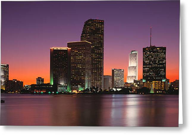 Biscayne Bay Greeting Cards - Evening Biscayne Bay Miami Fl Greeting Card by Panoramic Images
