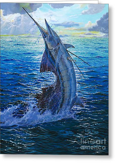 Striped Marlin Greeting Cards - Evening Bite Greeting Card by Carey Chen