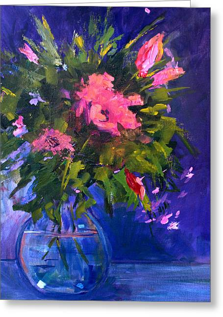 Aster Paintings Greeting Cards - Evening Blooms Greeting Card by Nancy Merkle