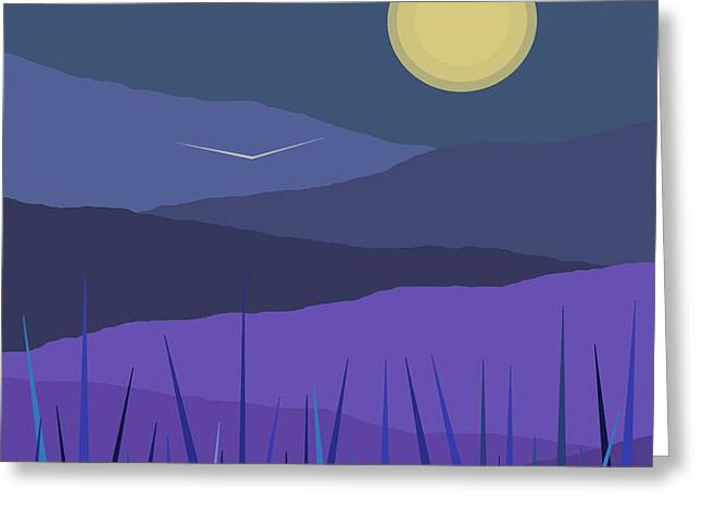 Violet Blue Greeting Cards - Evening Blue Moonshine Greeting Card by Val Arie
