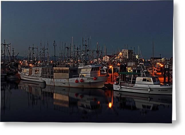 French Creek Marina Greeting Cards - Evening Blue Greeting Card by Randy Hall