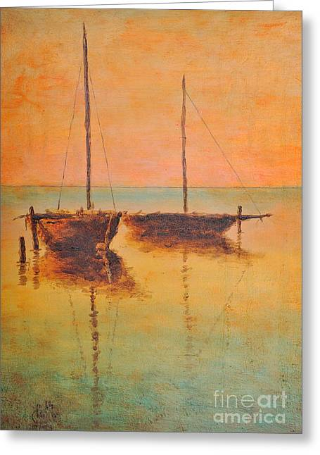 Docking Greeting Cards - Evening boats Greeting Card by Jiri Capek