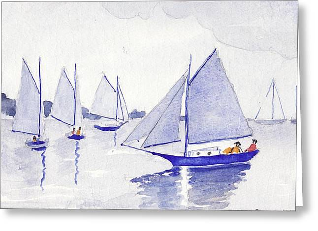 New England Ocean Drawings Greeting Cards - Evening Breeze Greeting Card by Robert Parsons