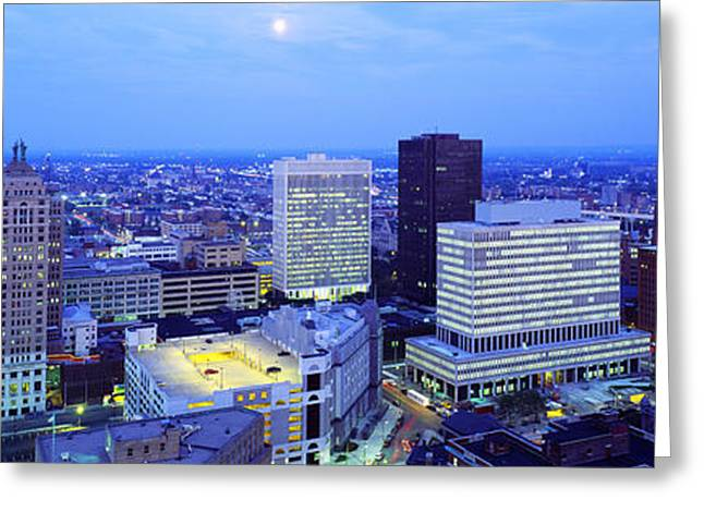 Sprawl Greeting Cards - Evening, Buffalo, New York State, Usa Greeting Card by Panoramic Images