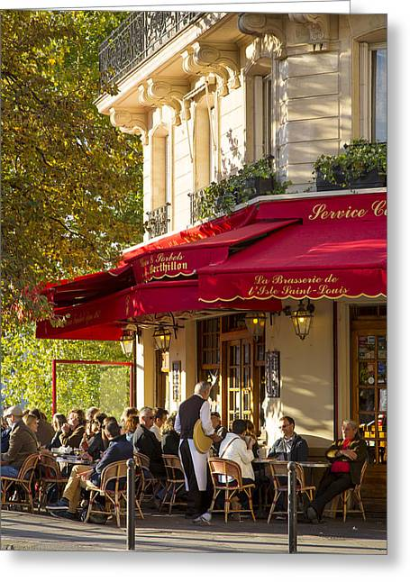 European Restaurant Greeting Cards - Evening Cafe - Paris Greeting Card by Brian Jannsen