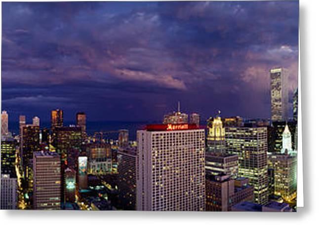 Corporate Business Greeting Cards - Evening Chicago Il Greeting Card by Panoramic Images