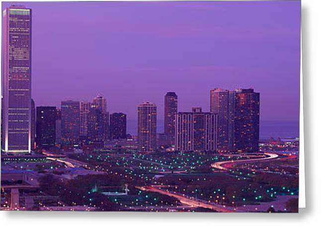 Sprawl Greeting Cards - Evening Chicago Il Usa Greeting Card by Panoramic Images