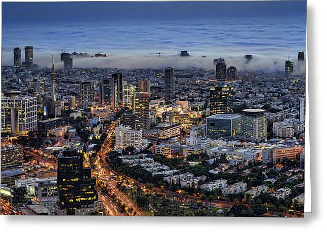 Evening City Lights Greeting Card by Ron Shoshani