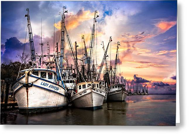 Shrimpers Greeting Cards - Evening Colors Greeting Card by Debra and Dave Vanderlaan