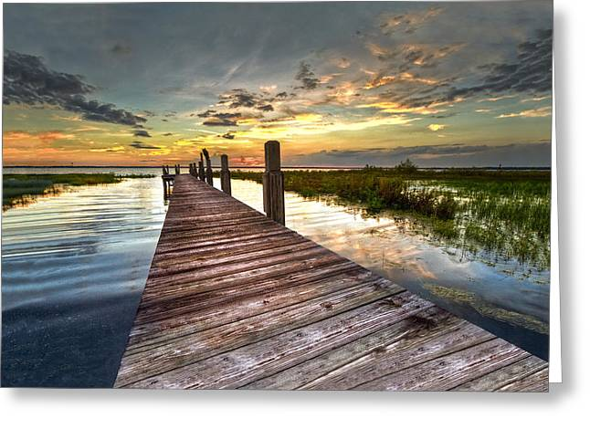 Oceanscape Greeting Cards - Evening Dock Greeting Card by Debra and Dave Vanderlaan