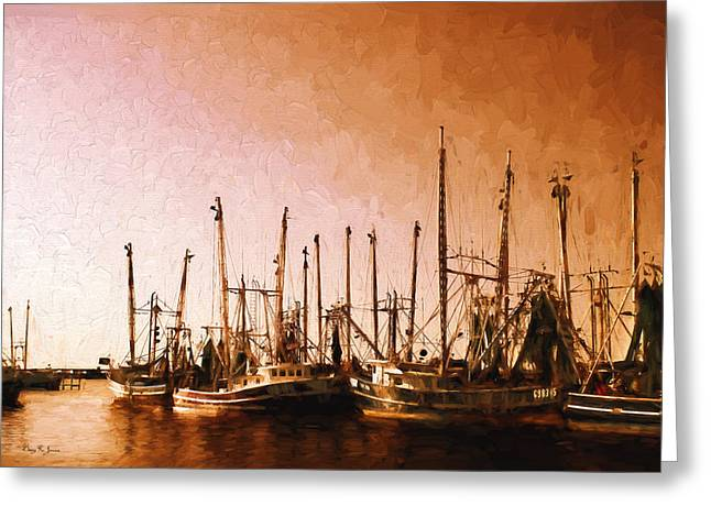 Barry Styles Greeting Cards - Shrimp Boats - Dock - Coastal - Evening Dockside Greeting Card by Barry Jones