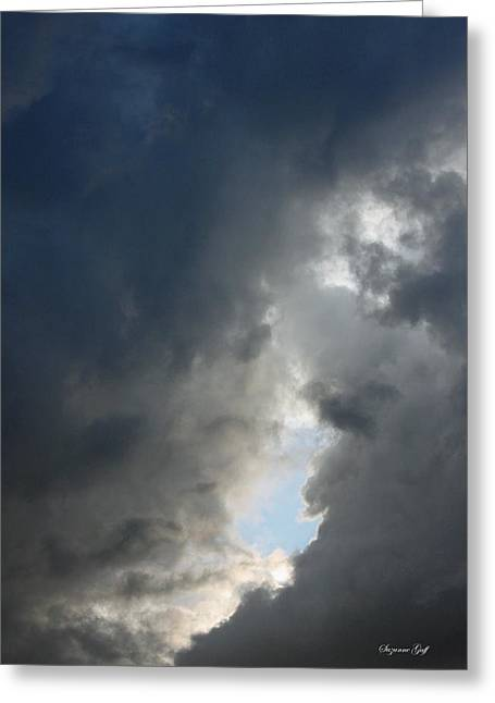 Backlit Prints Greeting Cards - Evening Drama-A Break in the Clouds Greeting Card by Suzanne Gaff