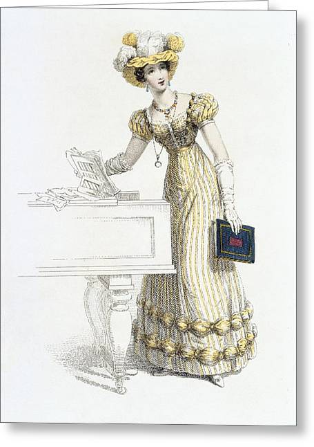 Striped Drawings Greeting Cards - Evening Dress, Fashion Plate Greeting Card by English School