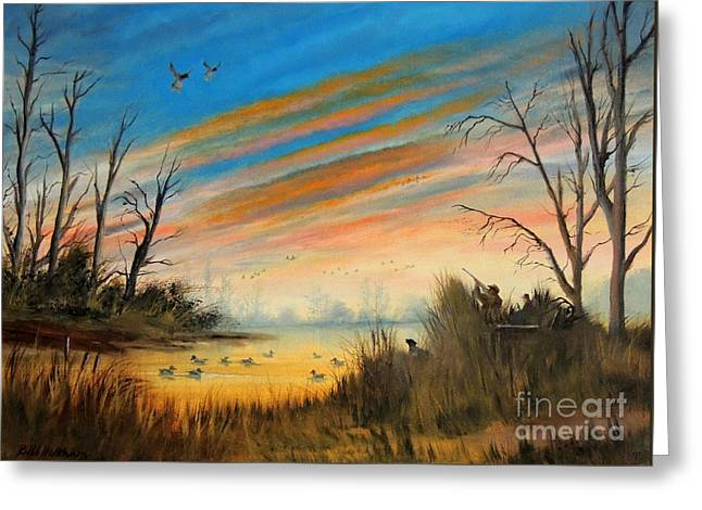 Unlimited Greeting Cards - Evening Duck Hunt Greeting Card by Bill Holkham