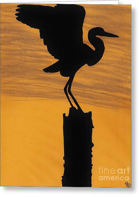 Surf Silhouette Drawings Greeting Cards - Evening - Egret Greeting Card by D Hackett