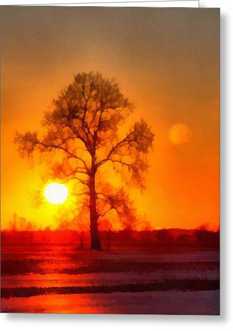Evening Ember Sunset Greeting Card by Dan Sproul