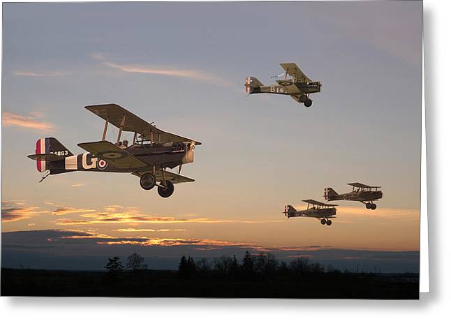 Triplane Greeting Cards - Evening Flight Greeting Card by Pat Speirs