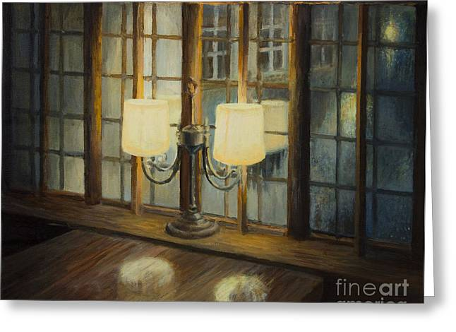 Lamplight Greeting Cards - Evening for Two Greeting Card by Kiril Stanchev