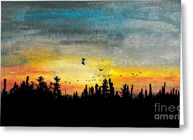 Evening Scenes Pastels Greeting Cards - Evening Freedom Greeting Card by R Kyllo
