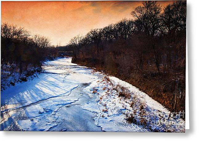 Snowy Evening Digital Art Greeting Cards - Evening Frozen Creek Greeting Card by Anna Surface